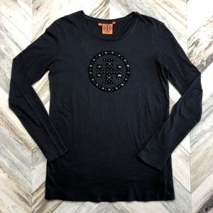 Tory Burch Studded Logo Long Sleeve Tee Small